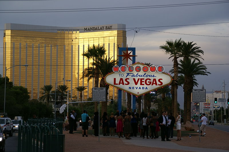 Placa welcome to fabulous Las Vegas e hotel Mandalay Bay